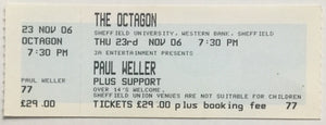 Paul Weller Original Unused Concert Ticket Sheffield 23rd Nov 2006