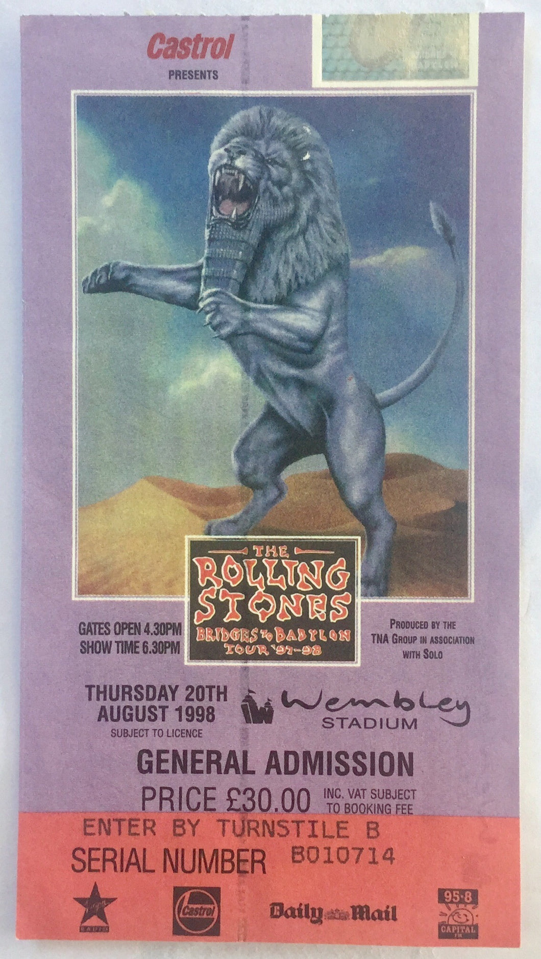 Rolling Stones Original Used Concert Ticket Wembley Stadium London 20th Aug 1998