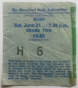 Rush Original Used Concert Ticket De Montfort Hall Leicester 21st June 1980