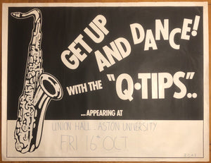 Paul Young Q Tips Original Promo Concert Tour Gig Poster Aston University 16th Oct 1981