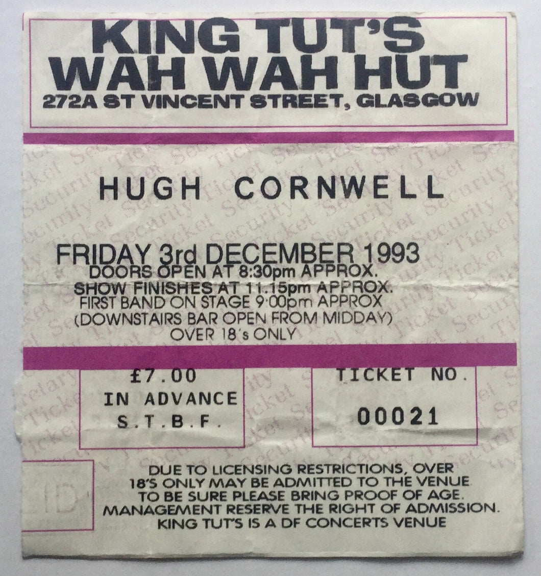 Hugh Cornwell Original Used Concert Ticket King Tuts Wah Wah Hut Glasgow 3rd Dec 1993