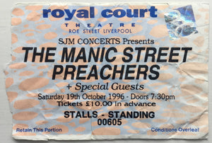 Manic Street Preachers Original Used Concert Ticket Royal Court Theatre Liverpool 19th Oct 1996