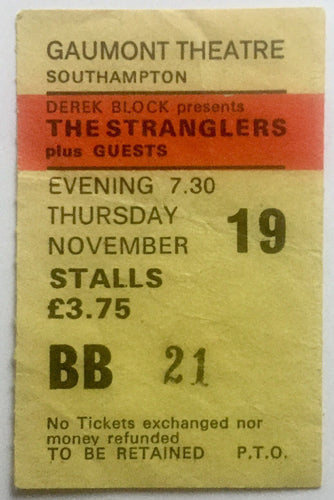 Stranglers Original Used Concert Ticket Gaumont Theatre Southampton 19th Nov 1981