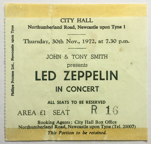 Led Zeppelin Original Used Concert Ticket City Hall Newcastle 30th Nov 1972