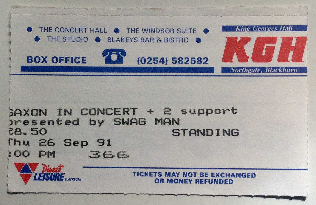 Saxon Original Used Concert Ticket King George's Hall Blackburn 26th Sept 1991