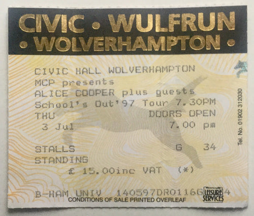 Alice Cooper Original Used Concert Ticket Civic Hall Wolverhampton 3rd July 1997