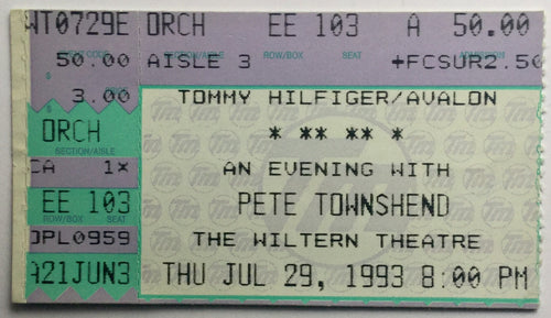 Who Pete Townshend Original Used Concert Ticket Wiltern Theatre Los Angeles 29th July 1993