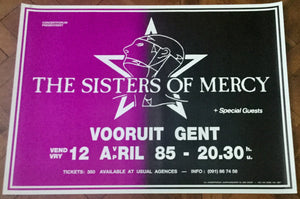 Sisters of Mercy Original Promo Concert Tour Gig Poster Vooruit Gent 1985