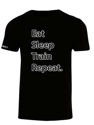 Hyperlion Eat Sleep Train Repeat Mens Black Gym T Shirt