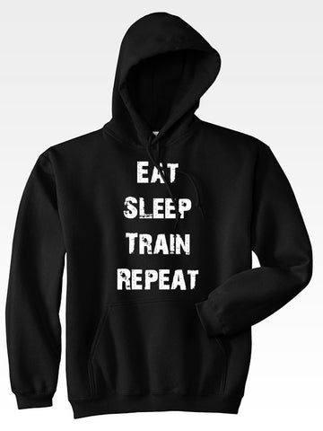 Hyperlion Eat Sleep Train Repeat Black Mens Gym Hoodie