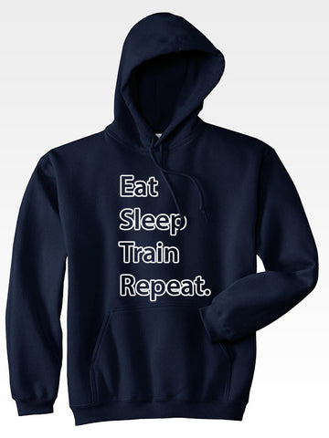 Hyperlion Eat Sleep Train Repeat Blue Mens Hoodie