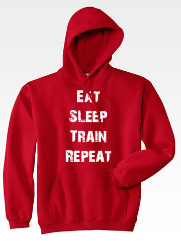 Hyperlion Eat Sleep Train Repeat Red Mens Gym Hoodie