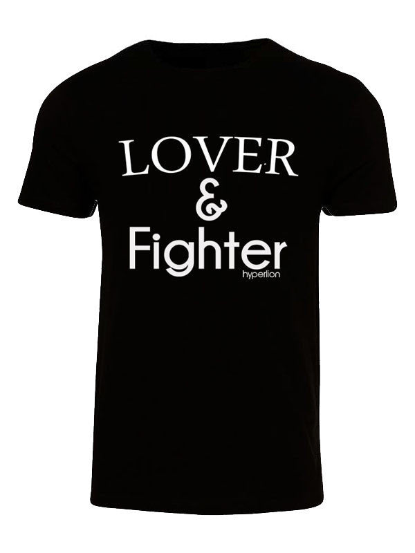Hyperlion Lover and Fighter Mens Black Gym T Shirt