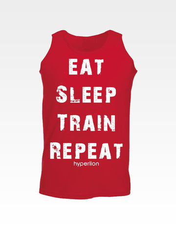 Hyperlion Eat Sleep Train Repeat Red Mens Gym Vest
