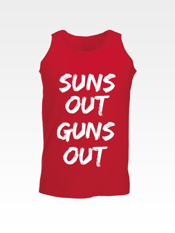Hyperlion Suns Out Guns Out Red Gym Mens Vest