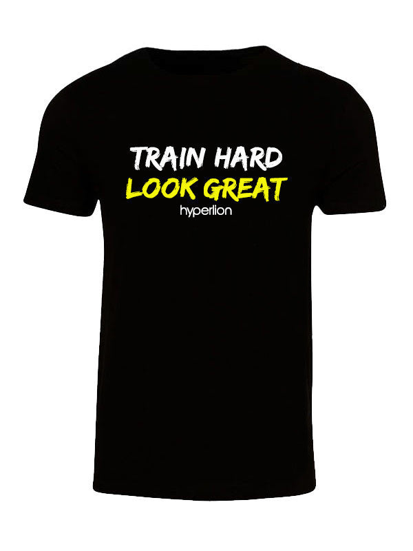Hyperlion Train Hard Look Great Mens Black Gym T Shirt