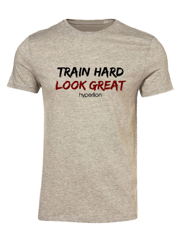 Hyperlion Train Hard Look Great Mens Grey Gym T Shirt