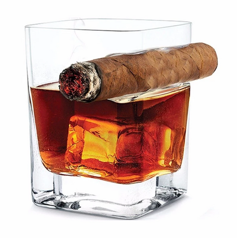 CIGAR HOLDER AND WHISKY GLASS