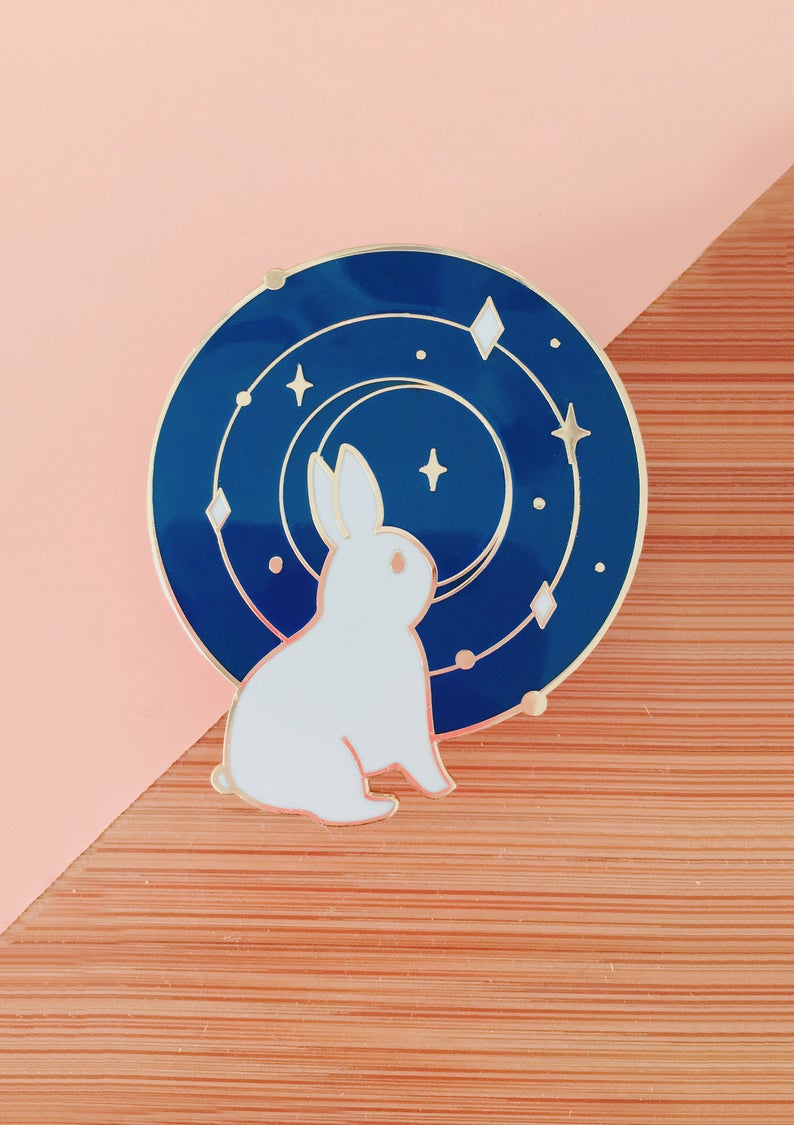 Galaxy Bunny Enamel Pin - Sugarmints Artstore