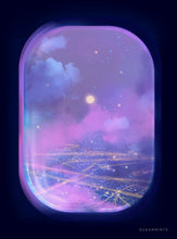 Load image into Gallery viewer, Plane Postcard: Violet Skies - Sugarmints Artstore