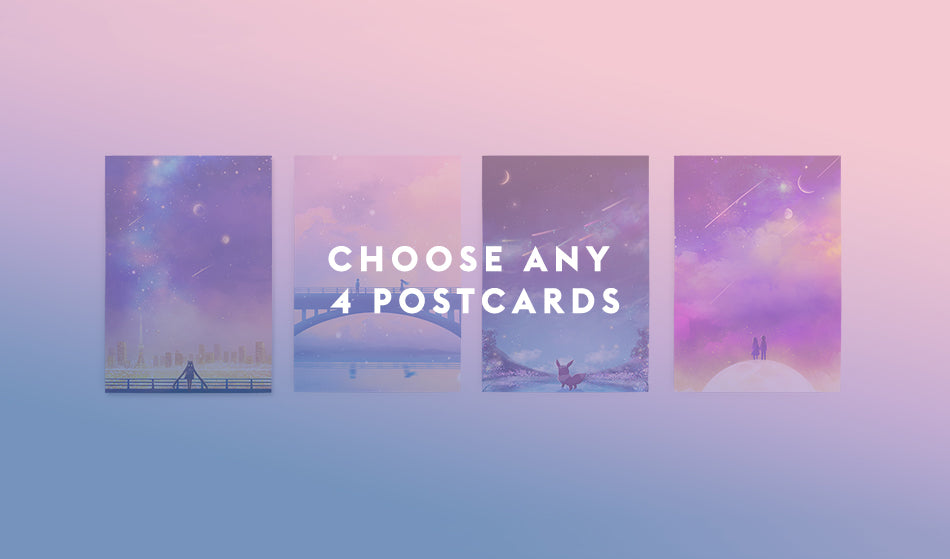 Choose Any 4 Postcards Set - Sugarmints Artstore