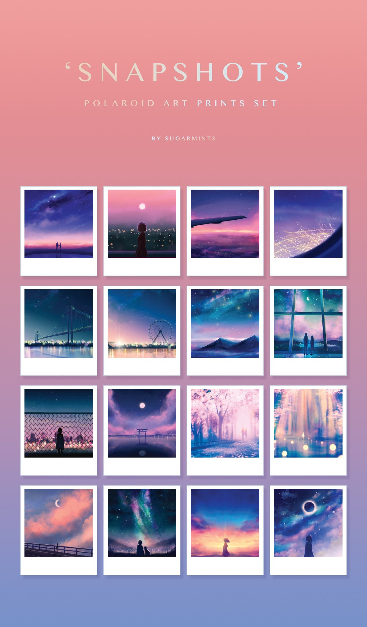 """Snapshots"" 16-pc Polaroid Set - Sugarmints Artstore"