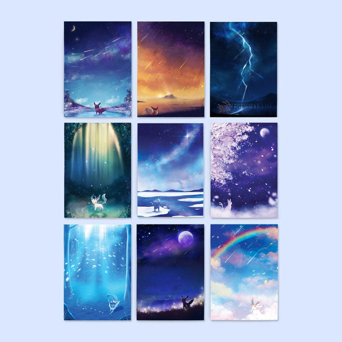Pokemon Eeveelutions Postcard Set - Sugarmints Artstore