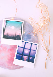 """Moons"" 12-pc Polaroid Set - Sugarmints Artstore"