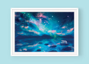 Poster: Arctic Lights (Polar Bears) - Sugarmints Artstore