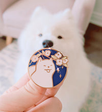 Load image into Gallery viewer, Sakura Samoyed Enamel Pin - Sugarmints Artstore