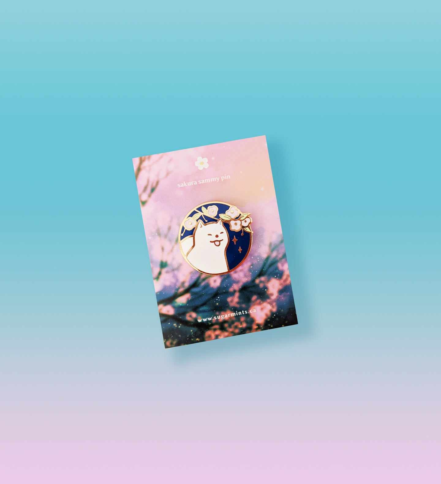 Sakura Samoyed Enamel Pin - Sugarmints Artstore