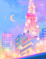 Load image into Gallery viewer, Postcard: Tokyo Tower City Lights - Sugarmints Artstore