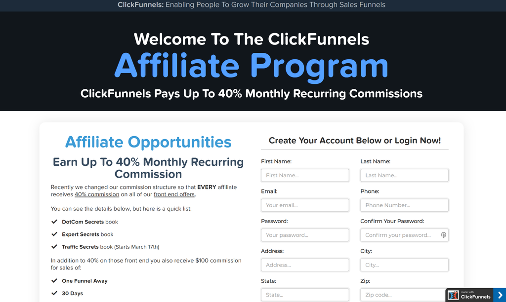 Affiliate Marketing With ClickFunnels