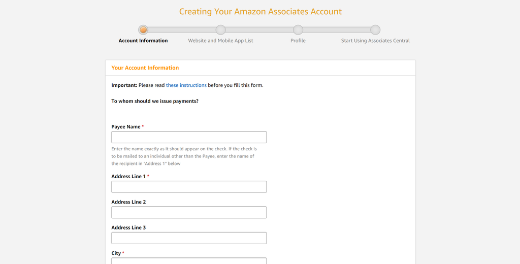 Amazon Associates Signup Account Information