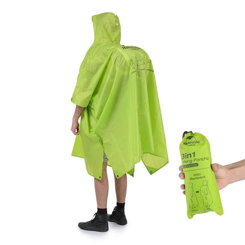 3 in 1 Polyester Multifunction Poncho Raincoat