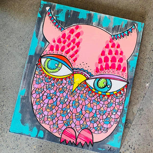 Original Pink Owl by Local Portland Artist