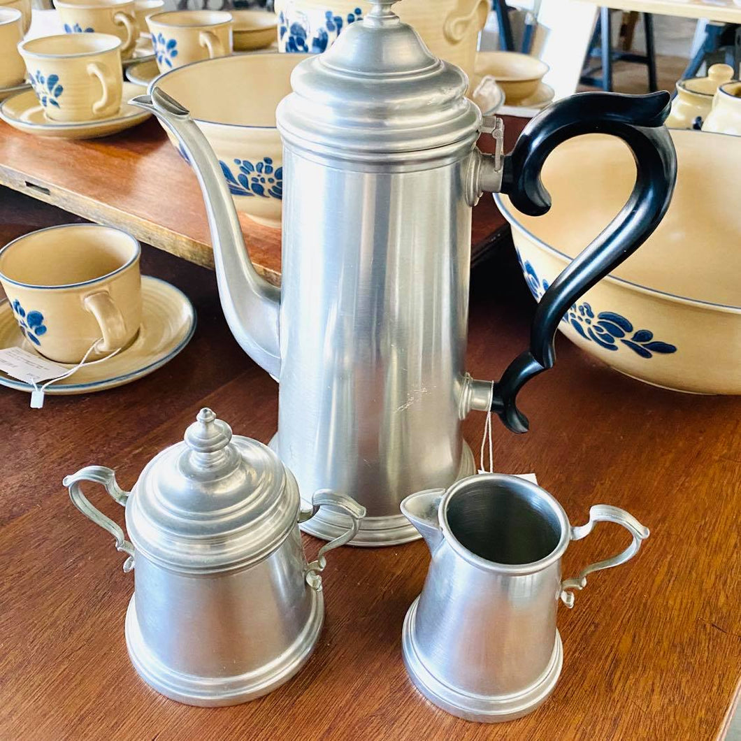 Vintage International Pewter Coffee Pot With Cream And Sugar