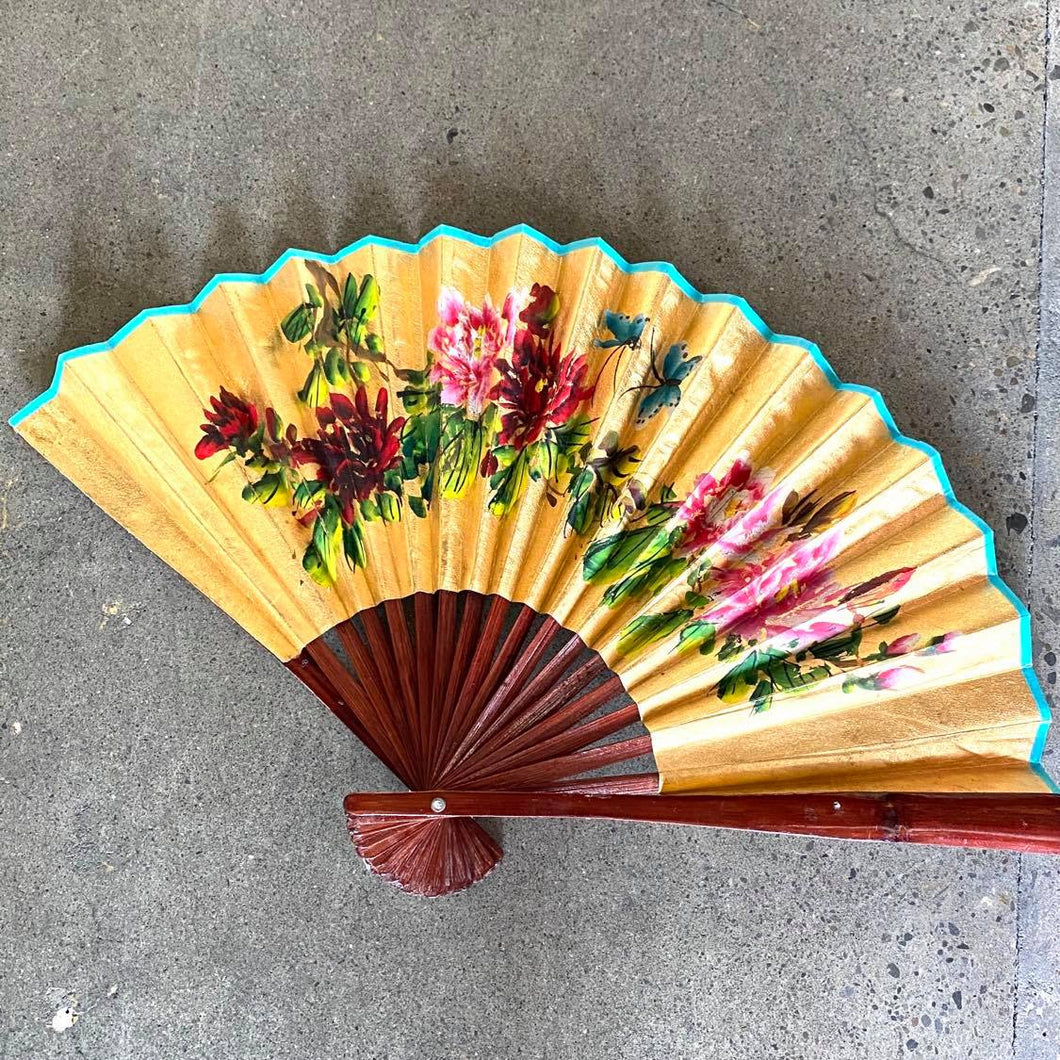 Hand painted Wall Mount Gold Fan