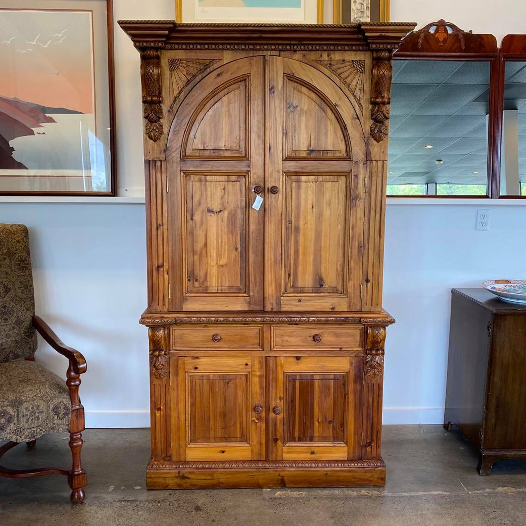 Italian Carved Pine Armoire Entertainment Center