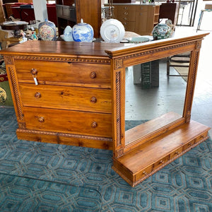 Italian Carved Pine Dresser with Mirror and Jewelry Storage