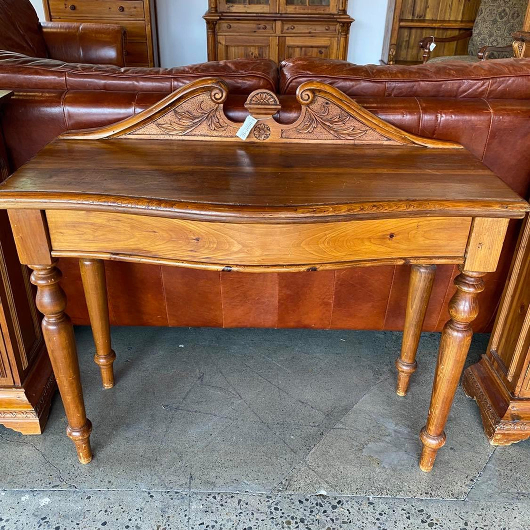 Italian Carved Pine Hallway Desk with Front Drawer