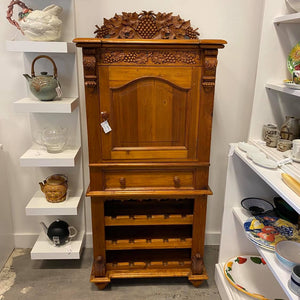 Ornate Carved Pine Wine Rack