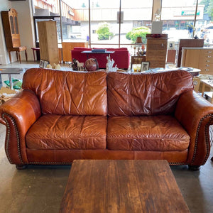Richardson and Richardson Riveted Brown Leather Couch *retail $3000