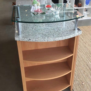Custom Recycled Glass Top Dressing Counter with Retractable Ironing Board