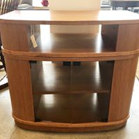 Load image into Gallery viewer, Mid Century Modern Teak Swivel TV Stand