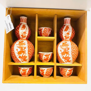 Beautiful Red And White Sake Set With Wood Box