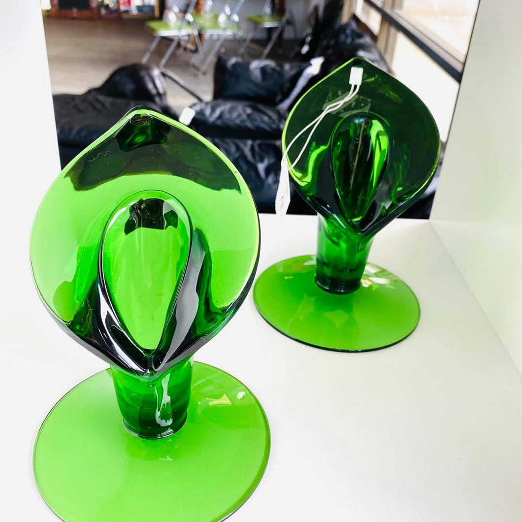 Set Of 2 Green Glass Candle Holders