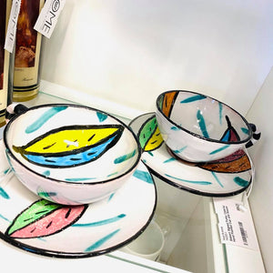 Siebert Signed Funky Colorful Hand Painted Cup and Saucer/Each
