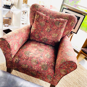 Red Floral Rustic Upholstered Armchair