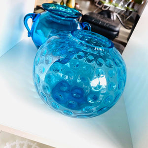 Round Blue Glass Dimple Dot Vase